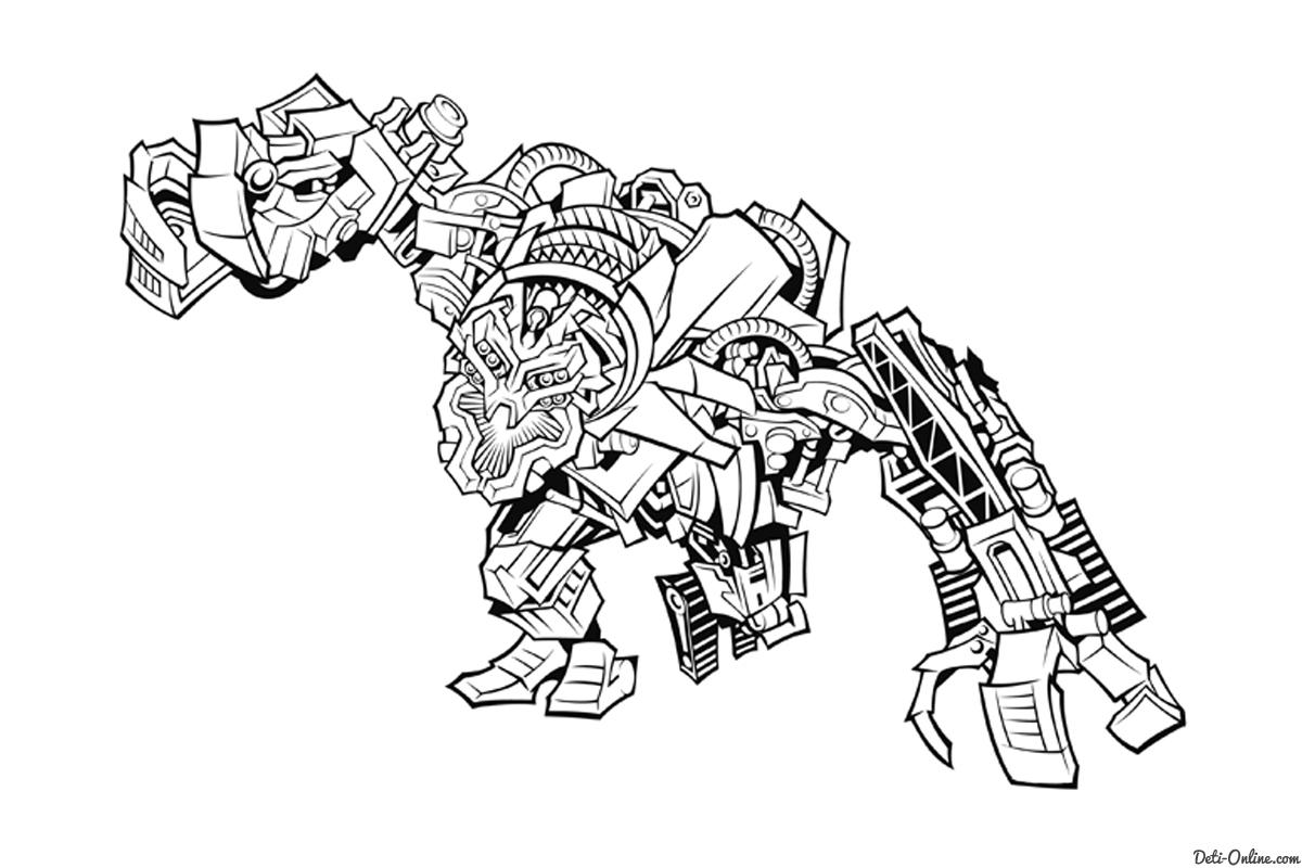 Динозавр робот раскраска